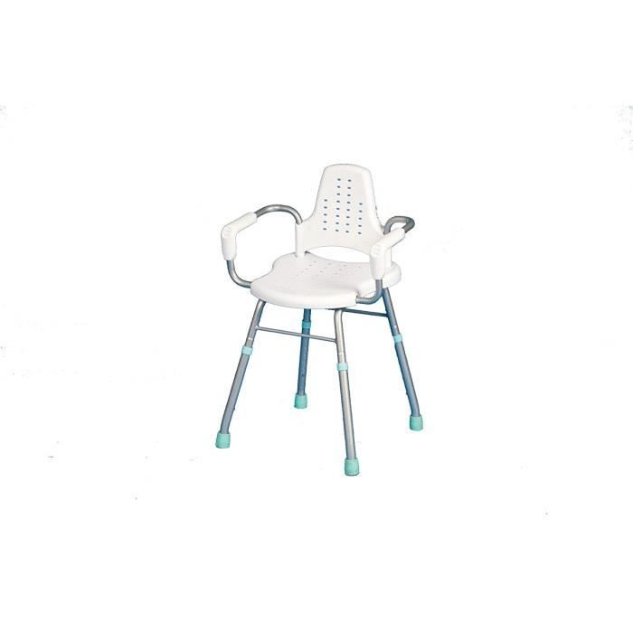 Nottingham Rehab Supplies Chaise de douche Prima en aluminium réglable en hauteur avec accoudoirs et dossier