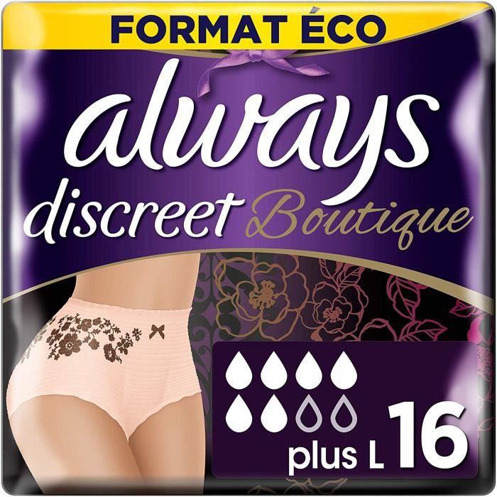 Hygiène féminine Always Discreet Boutique - Culottes pour incontinence - fuites urinaires, Taille L, Format éco x16 (plu 749609