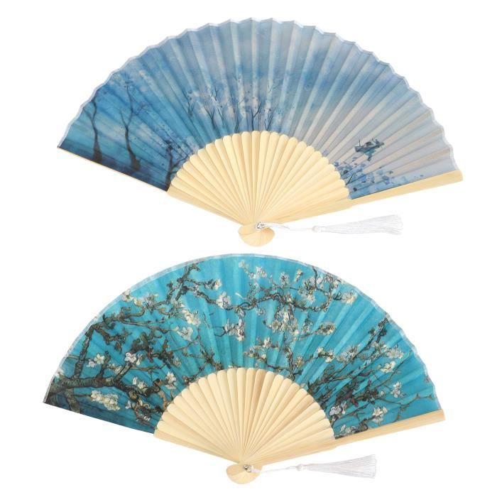 Éventail en bambou, ventilateur pliant à saveur artistique, 2 pièces unique motif de fleur d'abricot cadeau pour les fêtes à