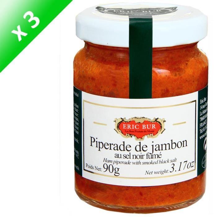 [LOT DE 3] ERIC BUR Piperade de Jambon au Sel Fumé - 90 g