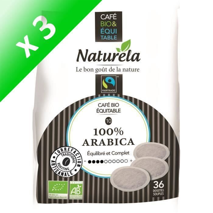 Naturela Café Dosettes Souples 100% Arabica Équitable x5 n° 5 Bio (Lot de 3)