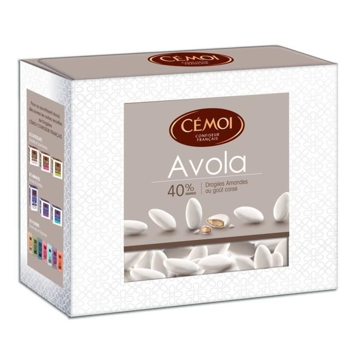 CEMOI Boîte Dragées Avola Blanche 40 % - 375 g