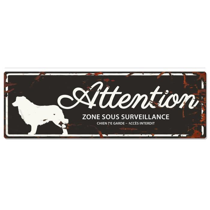 D&D Plaque Attention Chien Collie - Noir