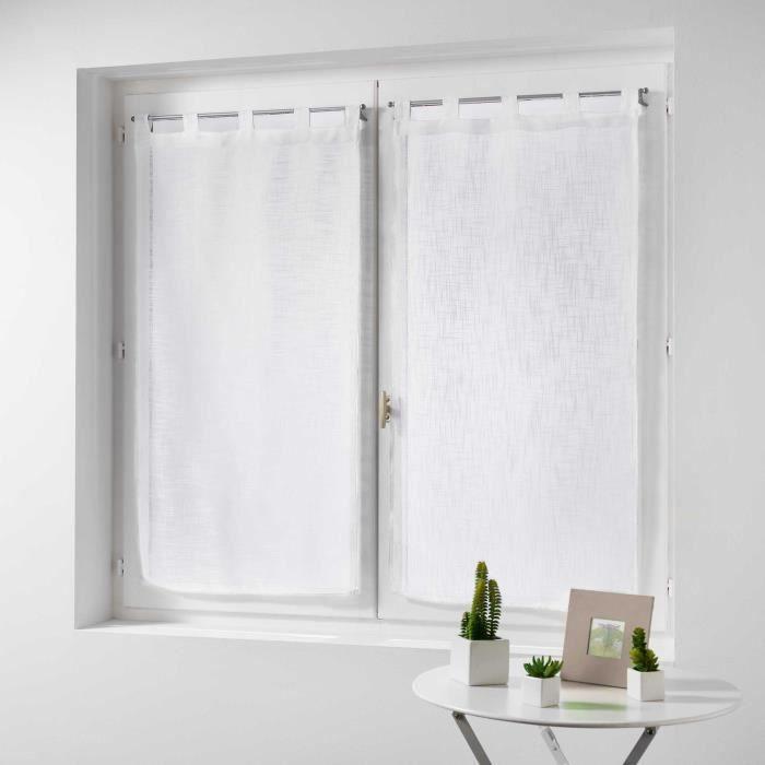 CDaffaires Paire droite passants 2 x 60 x 160 cm effet lin tisse haltona Blanc
