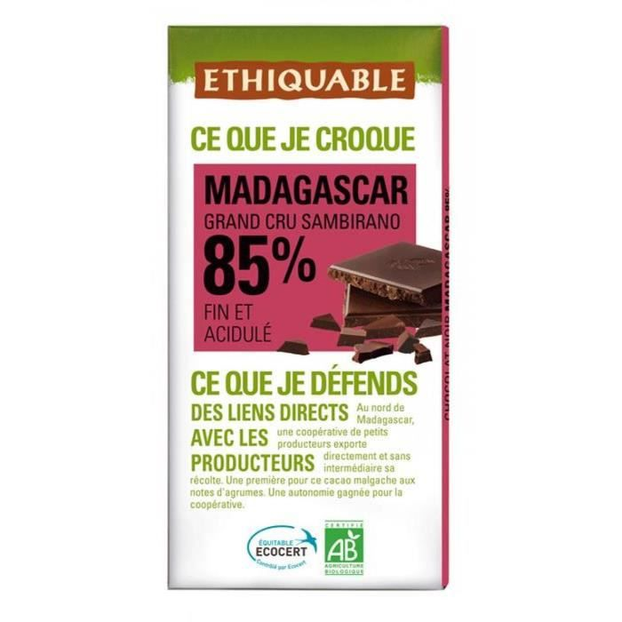 ETHIQUABLE Chocolat noir 85% de Madagascar - Bio - 100g