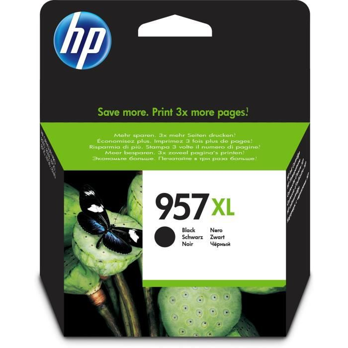 HP 957XL cartouche d'encre noire grande capacité authentique pour HP OfficeJet Pro 8211/8218 (L0R40AE)
