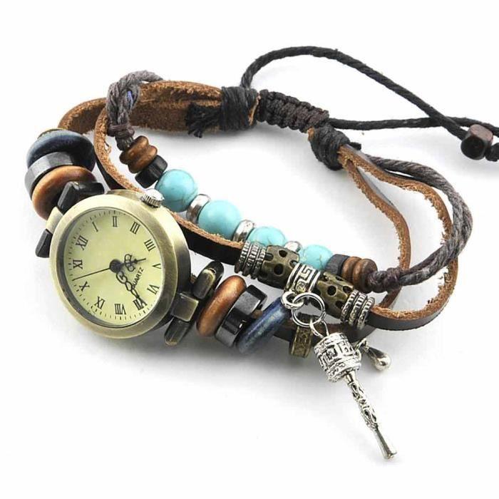Montre bracelet Bijou femme Cuir Bois Femme Marron Lanières Tresses Moulin à prières wz-M0001