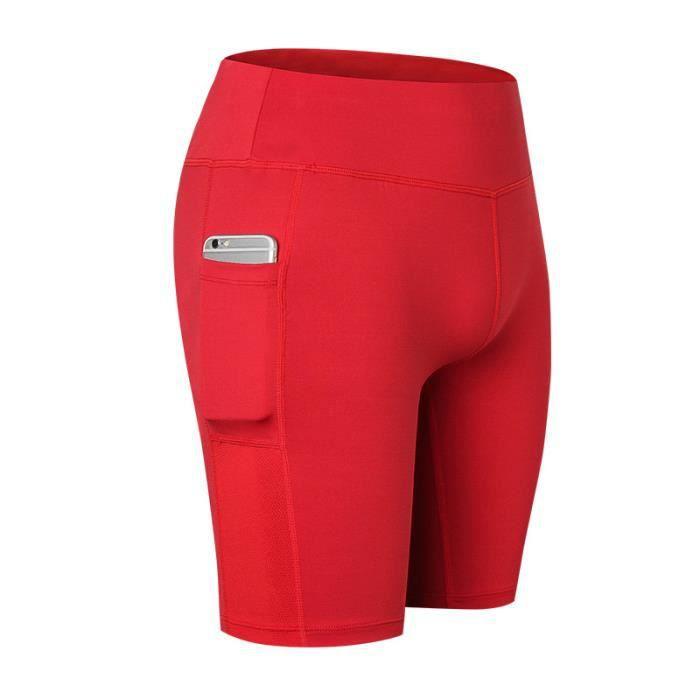 Shorts Femme de Sport Legging Fitness Stretch Taille Haute Pantalon Court de Yoga Avec Poche