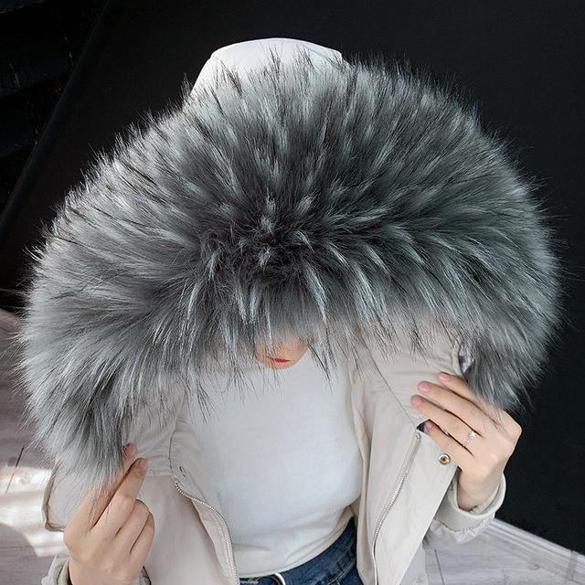 1pcs Col en fausse fourrure foulard col de capuche châle étole cache-col pour manteau d'hiver (Gris)