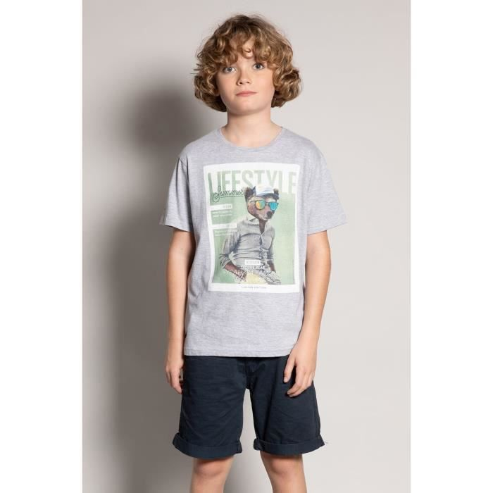 DEELUXE T-shirt photo animal TEDDEE Light Grey Mel