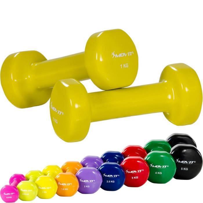 MOVIT® Set de 2 haltères en vinyle jaune 2 kg ( 2x 1 kg) Jaune
