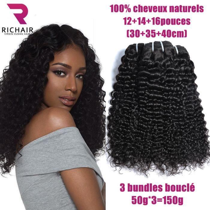 3 tissage bresilien boucle 7A cheveux naturel humain curly extension de cheveux 12+14+16pouces curly 50g/p RICHAIR