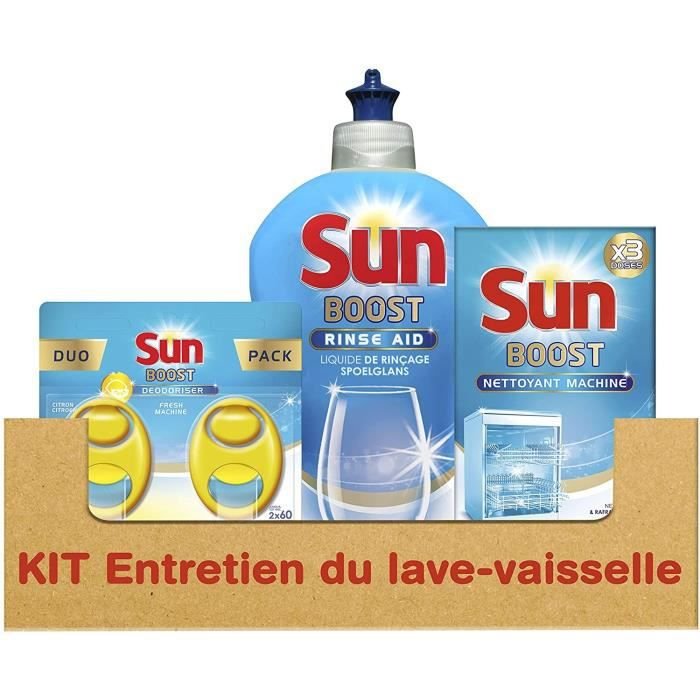 SUN Kit d'entretien pour lave-vaisselle avec désodorisant liquide Rinçage et Nettoyant Machine - 600 g - 0,600 kg