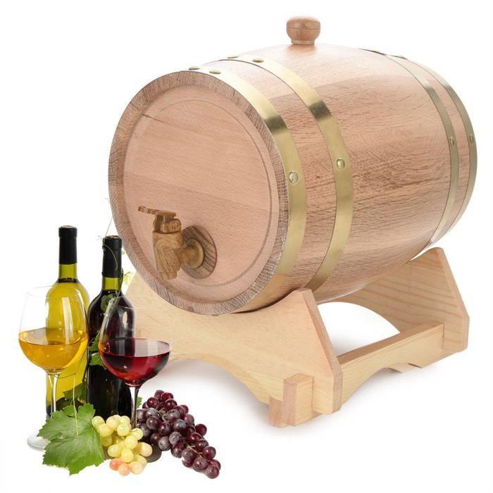 Tonneau à vin bois bois chêne vintage pour bière Whisky Rum Port 5L FR