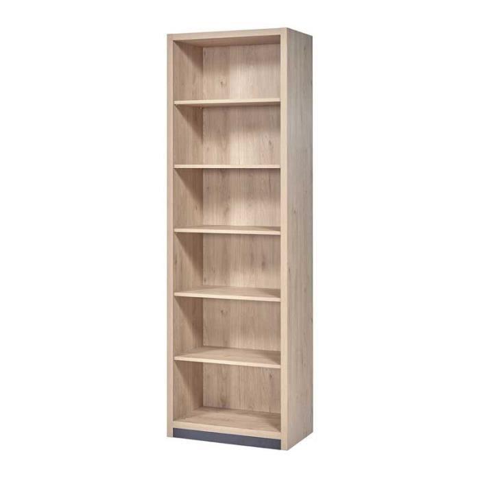 Bibliothèque 6 niveaux Bois clair - ANAELLE - L 70 x l 40 x H 219