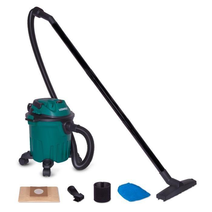 Aspirateur à sec et humide 1000W - Réservoir de 12L et câble d'alimentation de 5m – Buses, filtres et sac d'aspirateur inclus