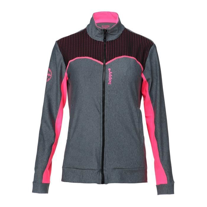 HAPPY AND SO Veste Multisport Tech - Femme - Gris chiné et Rose fluo