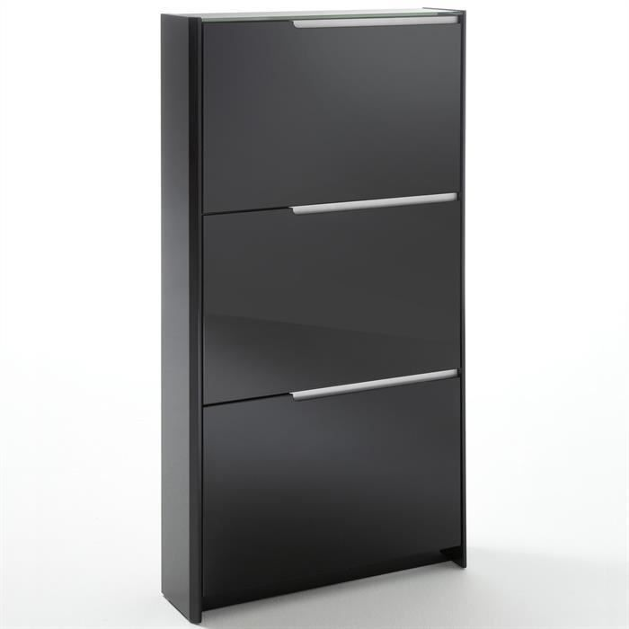meuble chaussures laqu brillant noir achat vente. Black Bedroom Furniture Sets. Home Design Ideas