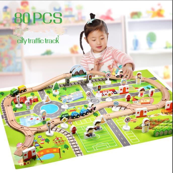 jeu construction** Rails double branchement incurvé pour circuit de train bois