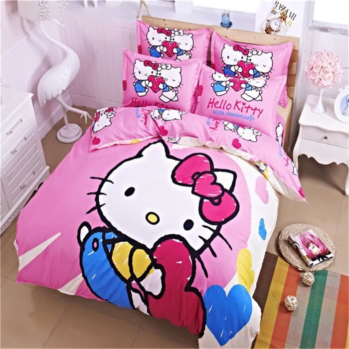 l m hello kitty enfant parure de couette parure de lit 1. Black Bedroom Furniture Sets. Home Design Ideas