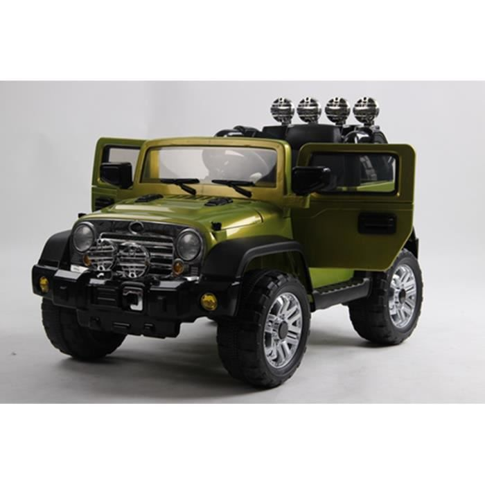 4x4 jeep lectrique pour enfant vert 1 place 12volts achat vente voiture enfant cdiscount. Black Bedroom Furniture Sets. Home Design Ideas