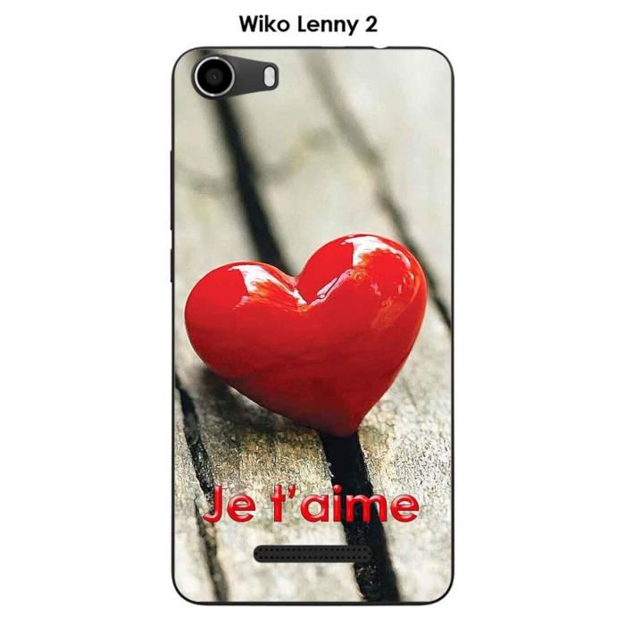 Coque Wiko Lenny 2 design Cœur sur table - Je t'ai
