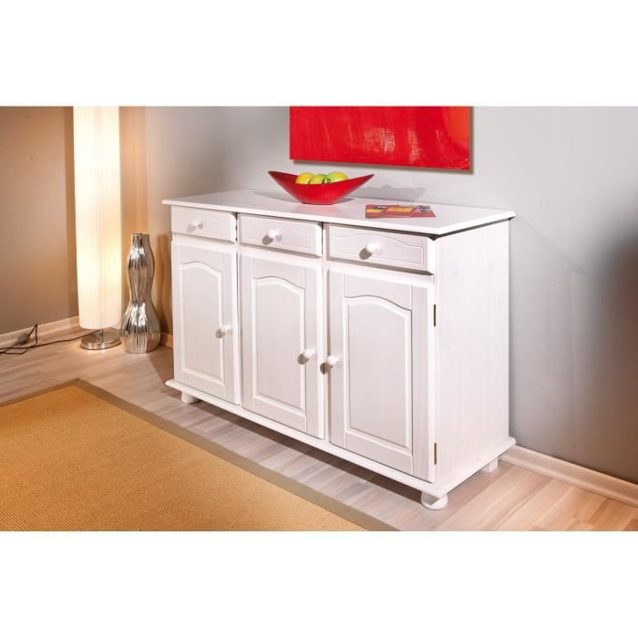 bahut bas en pin massif coloris blanc achat vente buffet bahut bahut bas en pin massif col. Black Bedroom Furniture Sets. Home Design Ideas