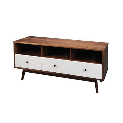meuble tv noyer massif 3 tiroirs bois et blanc malmo. Black Bedroom Furniture Sets. Home Design Ideas