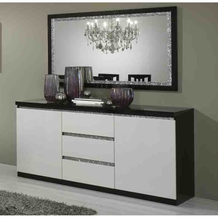 bahut 2 portes 3 tiroirs cromo laque bicolore sans miroir. Black Bedroom Furniture Sets. Home Design Ideas