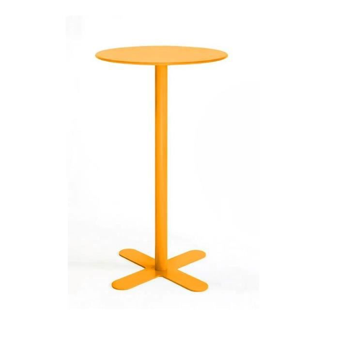 Table haute m tal ronde d60 san mateo couleur jaune for Table ronde de bar