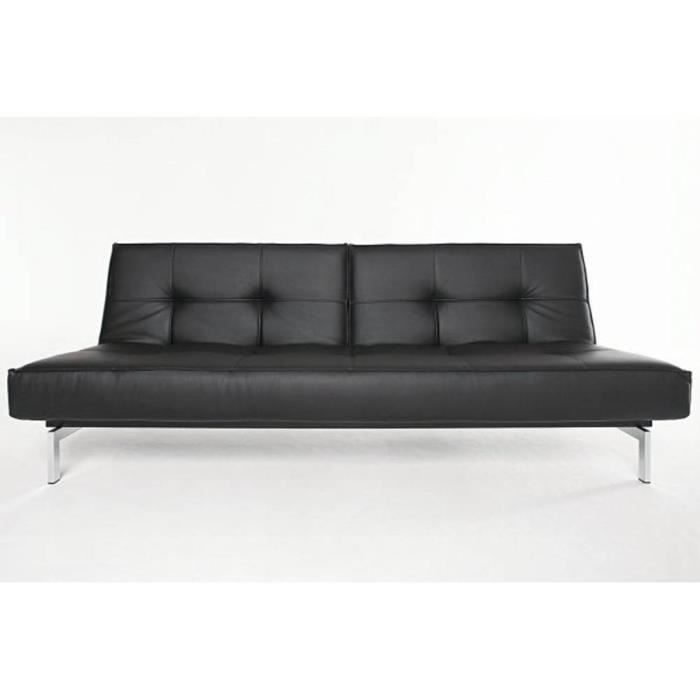 Canape lit design splitback noir convertible 115 2 achat for Canape lit design