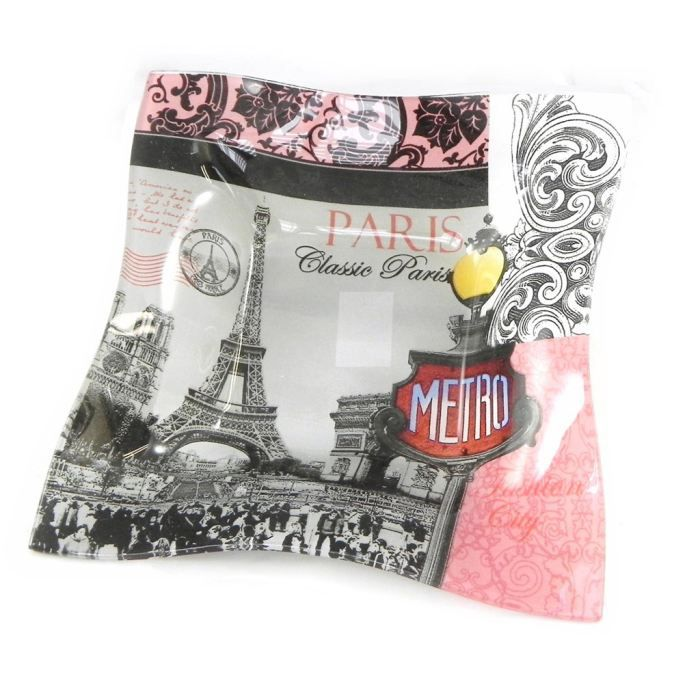 Plateau d co paris rose gris 21 cm achat vente plat - Art de la table paris ...