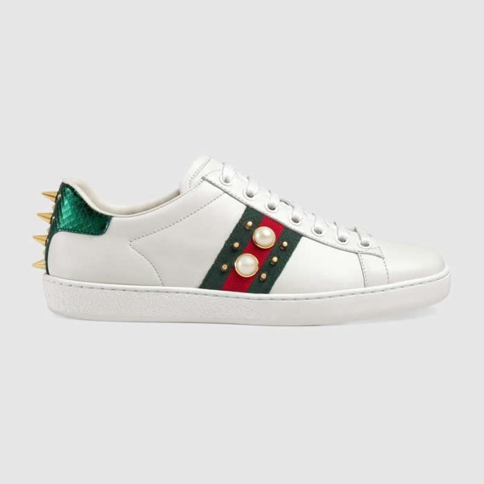 67ee5e478914 GUCCI Ace Embroidered Low-Top Femme Blanc Cuir Sneaker ...