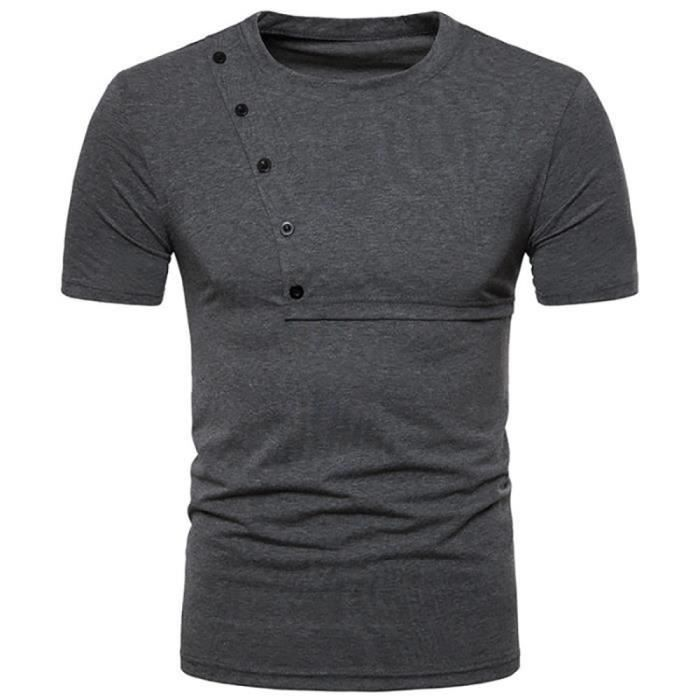 Tee Shirt Homme Marque-Uni-Col Rond-T-Shirt