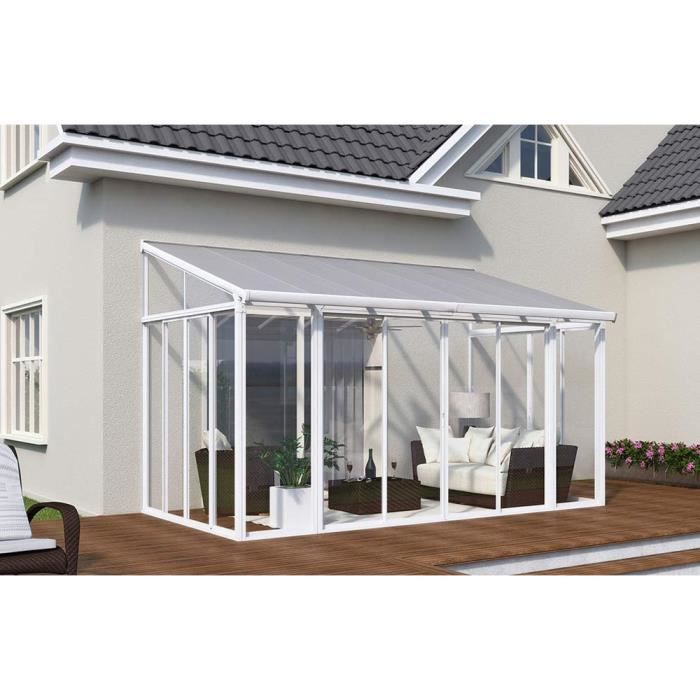pergola en polycarbonate ferm e couv 39 terrasse blanche 426 x 276 x 260 cm achat vente. Black Bedroom Furniture Sets. Home Design Ideas