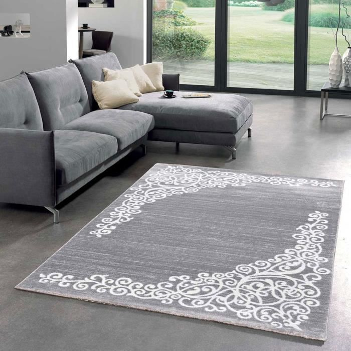 tapis salon new florida 1 gris 120x170 par unamourdetapis tapis moderne 120 x 170 cm gris. Black Bedroom Furniture Sets. Home Design Ideas