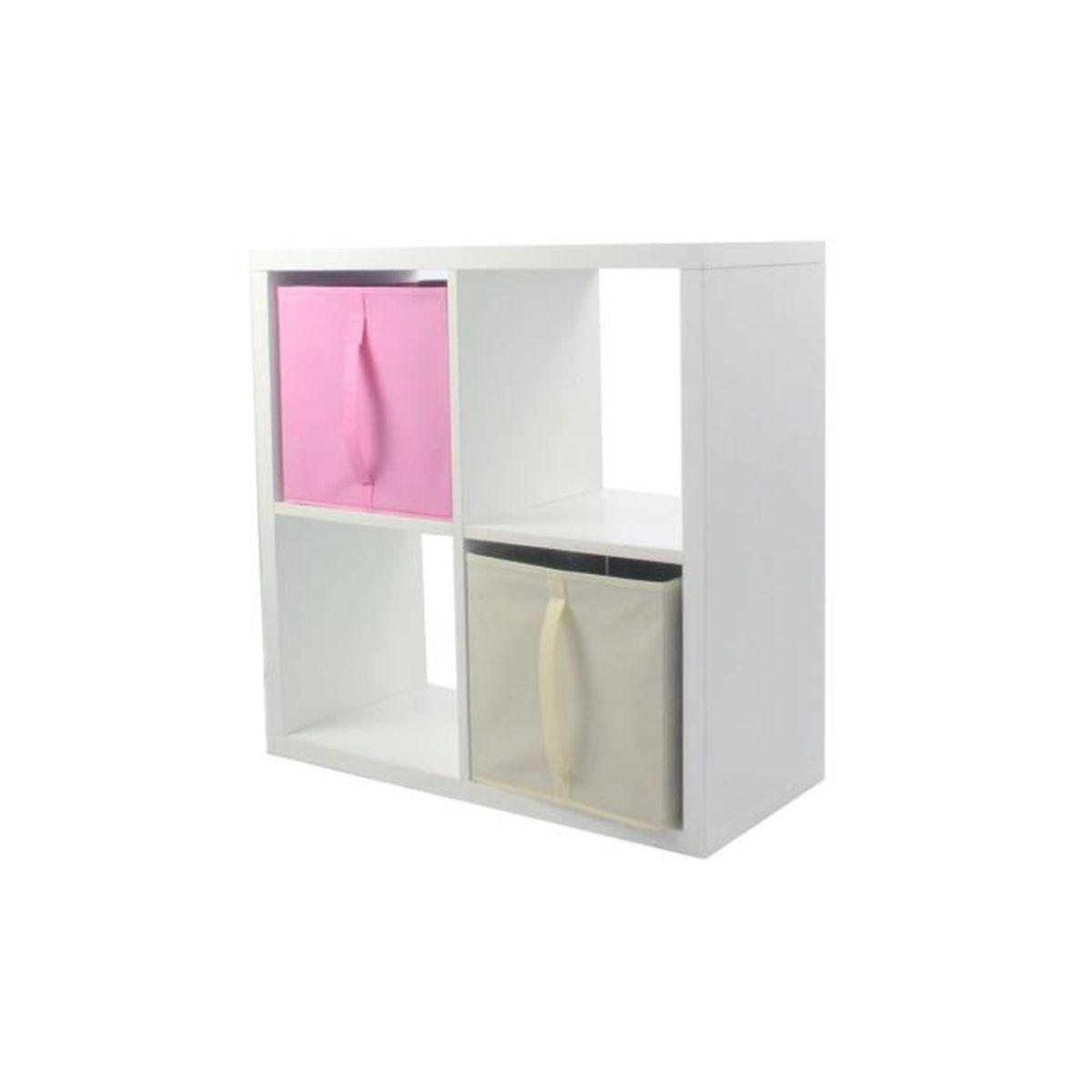 MEUBLE ÉTAGÈRE COMPO Meuble De Rangement 4 Cases + 2 Cubes Rose &