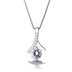 CHAINE DE COU SEULE Argent 925 inlay zircon collier pendentif bijoux e