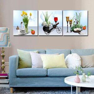 2018 Fleurs Moderne Toile Peinture Mur Photos Pour Cuisine