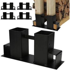 ABRI BÛCHES Set de 4 supports pour range-bûches en acier galva