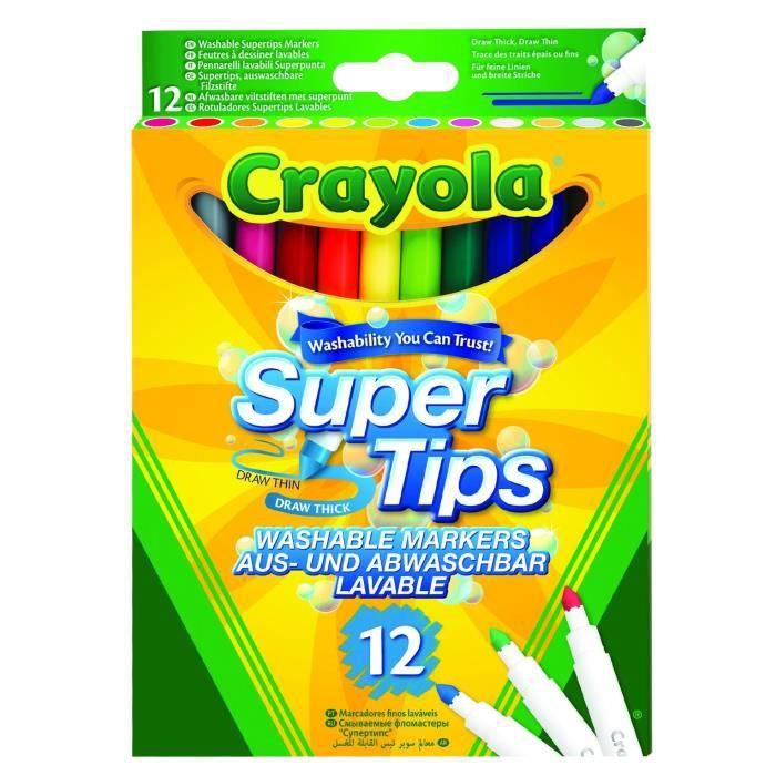 Crayola - 12 Feutres à dessiner - boîte française - Dessin