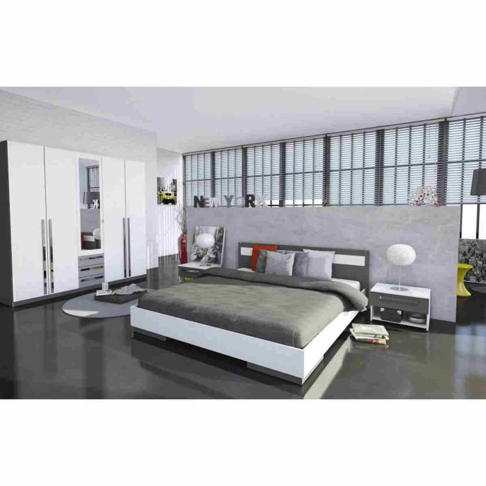 Effy chambre adulte compl te blanc gris graphite achat for Chambre adulte complete en pin