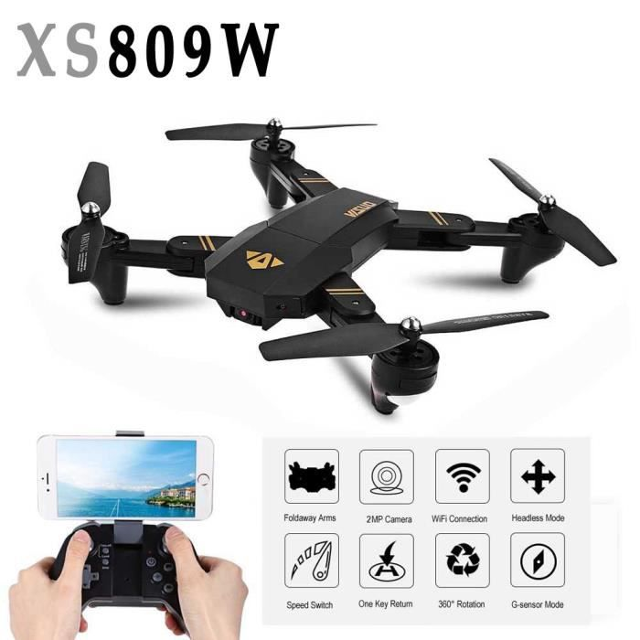 Mini Drone XS809W Foldable RC Selfie Drone Wifi en temps réel FPV 2MP 120 ° FOV