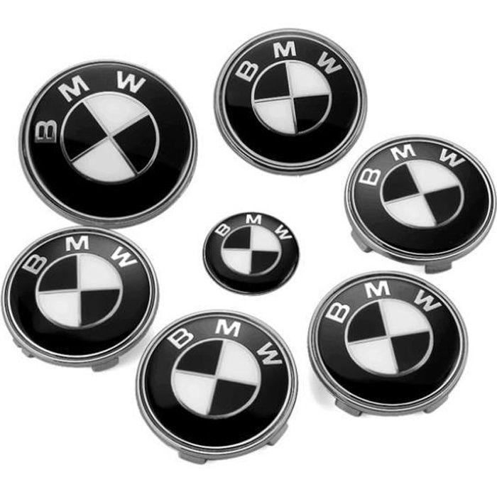 KIT 7 Badge LOGO Embleme BMW Noir Gris Capot + Coffre 74mm +Volant + 4 centre de roue