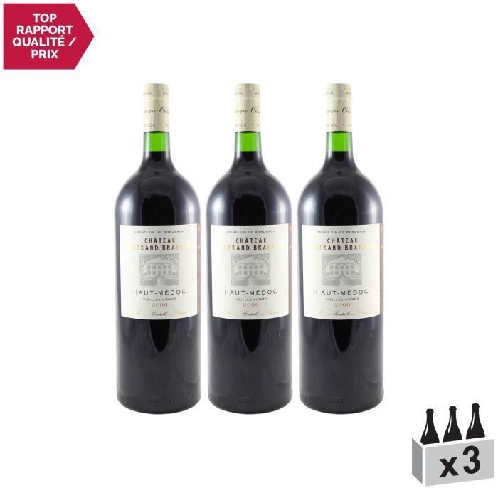 Château Bertrand Braneyre MAGNUM Rouge 2008 - Lot de 3x150cl - Appellation AOC Haut-Médoc - Vin Rouge de Bordeaux - Cépages