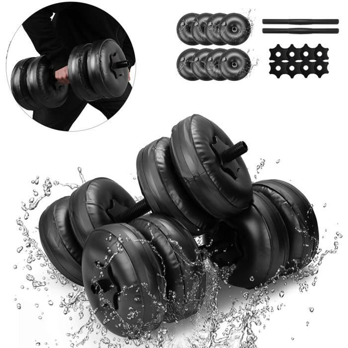 Haltère rempli d'eau Poids musculation Gymnase Exercice Muscle Bras Entraînement Sports de balle 26