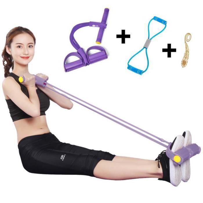 Pédale Résistance Bande Tube Pied Abdomen Entraîneur Sit Up Pull Corde élastique Traction Corde pour Fitness Yoga Minceur