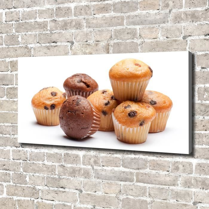 Tulup 140x70 cm art mural - Image sur toile:- Nourriture boissons - Muffins - Brun