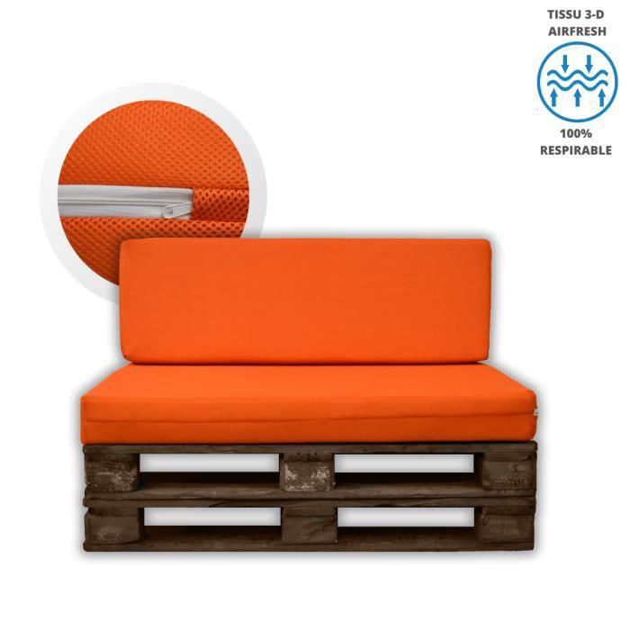 MICAMAMELLAMA Pack Coussins Dossier et Siège en mousse HR pour palettes avec housse orange en tissu 3-D respirable