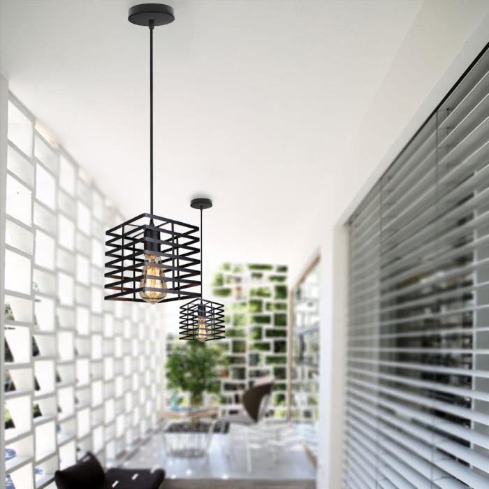 Yote 1PCS Industriel Suspension Luminaire Lustre Plafonnier en Rectangle Cage Métal Style Vintage pour Salon Chambre